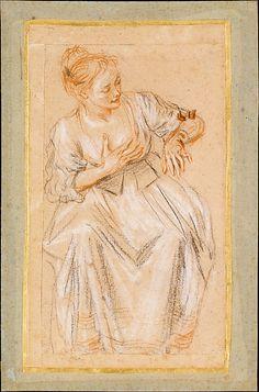 Antoine Watteau, 1716-17, Seated Woman, 3-chalk drawing, Metropolitan Museum of Art, NY