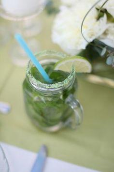 signature drink--mojitos in a mason jar, colorful straw