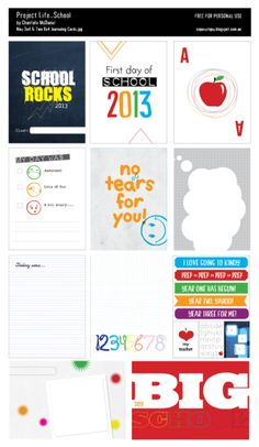 School is COOL 2013 Free Project Life Filler Cards