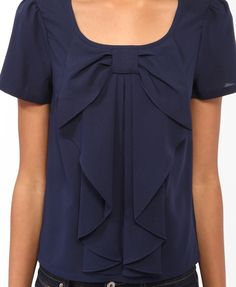 Navy shirt with bow...cute... jean, style, blue, blous, blazers, big bows, bow shirt, the navy, black