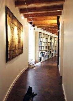 architects, exposed beams, hallways, bookcas, stained concrete