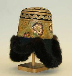 Hat, 20th c., Tibetan, silk, fur, wool and metal