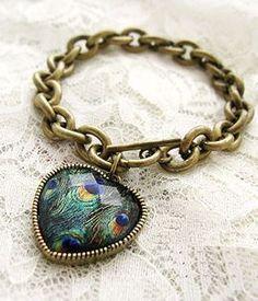 Peacock Feather Heart Bracelet <3