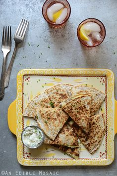 """""""His"""" and """"Hers"""" Fresh Corn Quesadillas with Roasted Garlic and Chive Crema"""