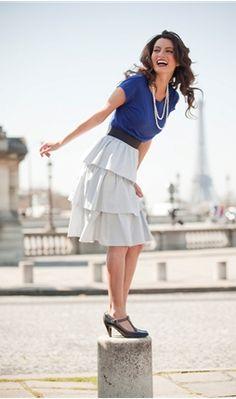 I love the royal blue and light grey skirt.