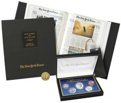 Deluxe Birthday Book with Year to Remember Coin Set - This personalized gift features the front page of the New York Times for each and every birthday of the recipient plus other cool features... #birthday #present #gift