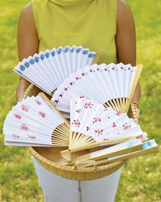 Use Ink Pads from Martha Stewart Crafts to embellish a paper fan with a fireworks pattern that is perfectly fitting for this 4th of July
