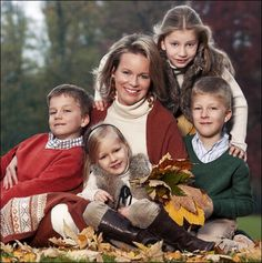 Princess Mathilde of Belgium poses with her children, Elisabeth, (R) Gabriel, (L) Emmanuel and Eleonore ahead of her 40th birthday on 20 Jan 2013 in Belgium.
