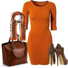 orang, octob dress, closet, brown outfit, giraff scarf