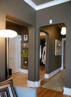 Love the #grey walls against the crisp white trim