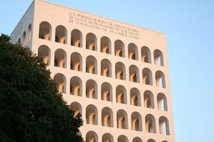 Located in the EUR neighbourhood of Rome, the Palazzo della Civilta' Romana is nicknamed the Colosseo Quadrato (Square Colosseum) for its resemblance to the most famous of ancient Roman monuments