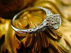 Antique Gothic Diamond Engagement Ring Wedding