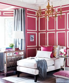 a room full of pink mouldings