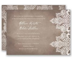 Vintage Lace Wedding Invitation by David's Bridal: A chic, rustic design of antique lace printed on a subtle wood grain background on both sides of this romantic wedding invitation is perfect for your vintage wedding.