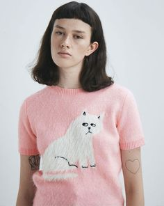 Lazy Oaf Furry Kitty Knitted Top Pink