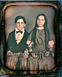 Beautiful Siblings, Scovill 1/6th-Plate Daguerreotype, Circa 1848. the hands almost look post mortem