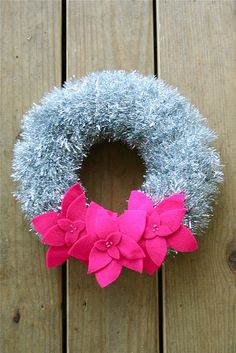 Hot Pink felt poinsettia wreath