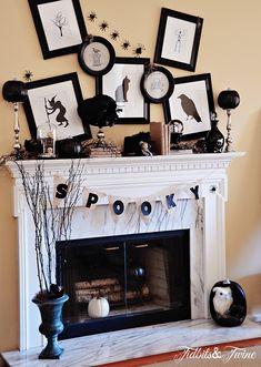 halloween parties, craft, candlesticks, fireplace mantels, black white, halloween mantel, spooky halloween, mantl, banners