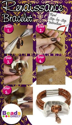 Learn how to make this simple but gorgeous Renaissance Bracelet. DIY Leather Bracelet http://www.beadsdirect.co.uk/gallery/detail/donatello-renaissance-bracelet/