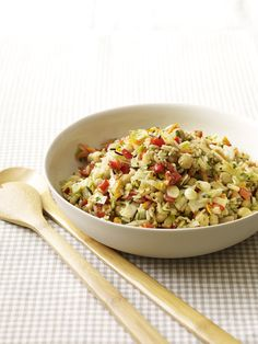 Wild Rice, Cabbage and Chickpea Pilaf fork, chickpea pilaf