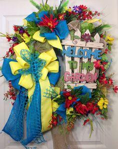Spring / Summer Mesh Wreath on Etsy, $114.00