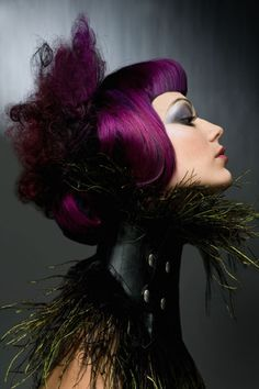 Deep Purple with feather and leather neck corset
