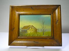 Old Farm House Oil Painting with Frame by borahstyle on Etsy, $35.00