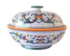 """BISCOTTI JAR: DERUTA : 11"""" (27cm) High.    This Piece is hand painted in Deruta."""