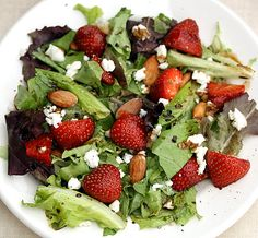strawberry almond and goat cheese salad