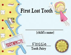 First Lost Tooth Certificate