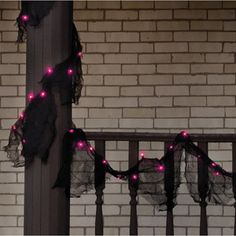 Black Lighted Garland with Purple Lights