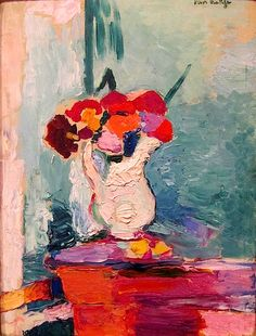 Henri Matisse - Flowers, 1907. This is in the permanent collection of SFMoma & it is such a stunning little piece, with a high gloss varnish.