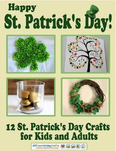 FREE e-Book: 12 St. Patrick's Day Crafts for Kids and Adults! #stpatricksday #craft