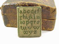 Antique Miniature Alphabet Sampler Pin Cushion