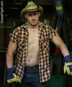 opened shirt cowboy wearing gloves