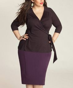 Love this Pink & Black Pin Dot Pear Wrap Top - Plus by IGIGI on #zulily! #zulilyfinds