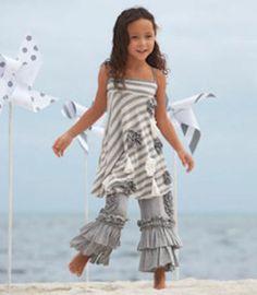 Boutique Girls Pixie Girl Chasing Fireflies Gray White Dress Ruffle Pant Set 12 | eBay