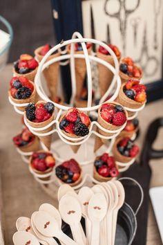 Good idea! Put fruit inside sugar ice cream cones! Party with tons of cute ideas via Kara's Party Ideas KarasPartyIdeas.com #fruit #recipe #party #idea