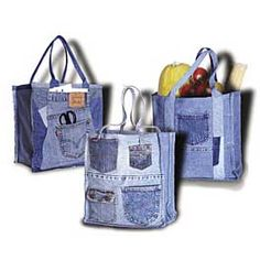 Double Green Shopping Bag Pattern - great idea to repurpose jeans. Denim is sturdy and strong enough to be a market bag and easily machine washed.