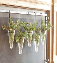 Not cold enough for a fire? Fill this set of 5 Fireplace Screen Hanging Vases from Plow & Hearth with greenery to dress it up instead.