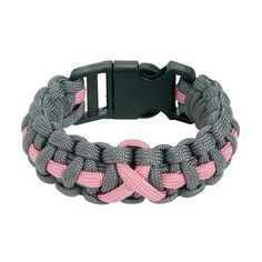Women's Pink Ribbon Paracord Bracelets - OrientalTrading.com