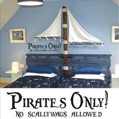 Pirates Only Vinyl Wall Art Decal Sticker - Pirate Decor Kids Room Nursery