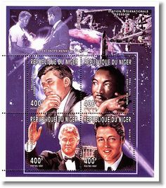Interesting set of foreign stamps honoring JFK, MLK and Bill Clinton.   www.facebook.com/pinkpillbox