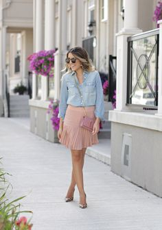 chambray + pleated skirt More