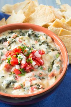 Mexican Spinach Dip...where queso meets spinach dip. Take a bite and taste all of this creamy, cheesy, spinach goodness! | Pick Fresh Foods
