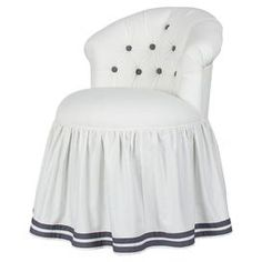 """Highlighted by contrasting button-tufting and a gathered skirt, this upholstered stool's dressmaker details and preppy accents lend it breezy elegance.  Product: StoolConstruction Material: WoodColor: WhiteFeatures: WovenDimensions: 35"""" H x 24"""" W x 24"""" DNote: Assembly requiredCleaning and Care: Dry clean"""