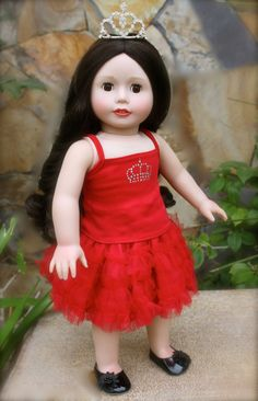 ROYAL RED TANK and Skirt Sets ONLY $9.95 at www.harmonyclubdolls.com We fit American Girl Dolls.