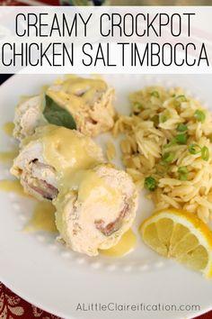 easy creamy crockpot chicken saltimbocca