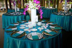 Teal Fuchsia wedding linen https://www.facebook.com/gableslinen