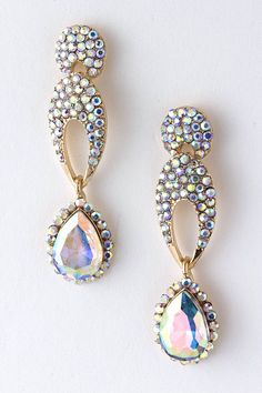Iridescent Ova Crystal earrings - Emma Stine |Pinned from PinTo for iPad|